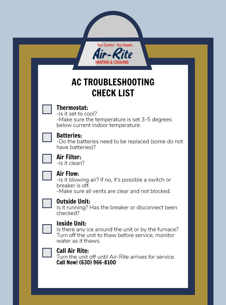 how to troubleshoot your ac checklist by air-rite heating and cooling